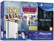 PS4 Slim 500 Go - Pack PlayLink Qui es-tu ? + Knowledge is Power + Hidden Agenda (Glacier White)